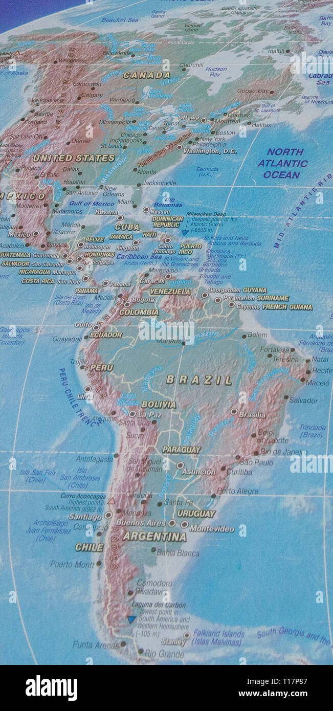 northern and southern america on the world map Stock Photo ...