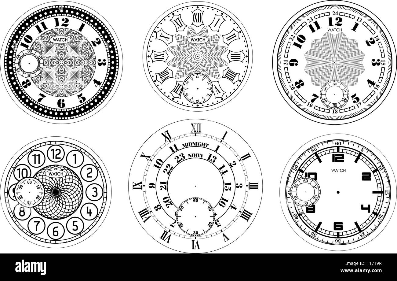 Clock face blank set isolated on white background. Vector watch design. Vintage roman numeral clock illustration. Black number round scale - Stock Image