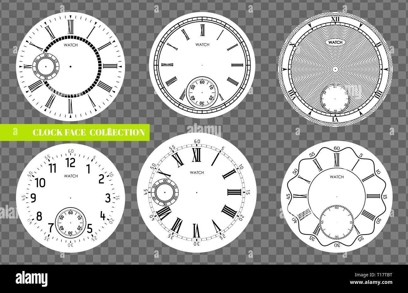 Clock face blank set isolated on transparent background. Vector watch design. Vintage roman numeral clock illustration. Black number round scale - Stock Image