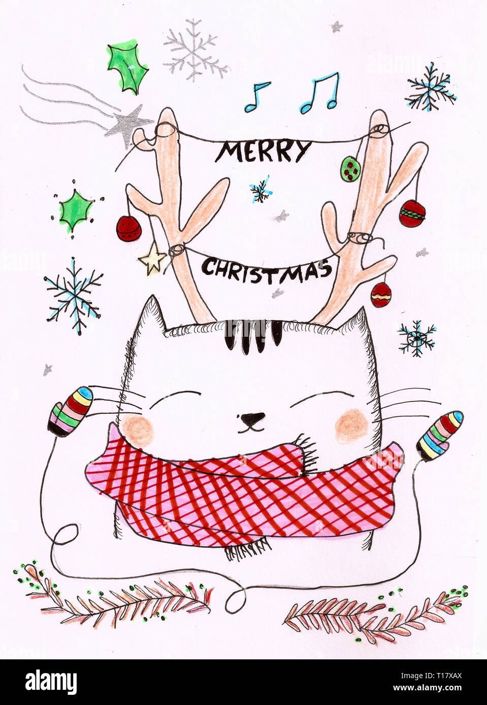 cute cat with a reindeer horn wearing a scarf on a Christmas scenario wishing a merry Christmas - Stock Image