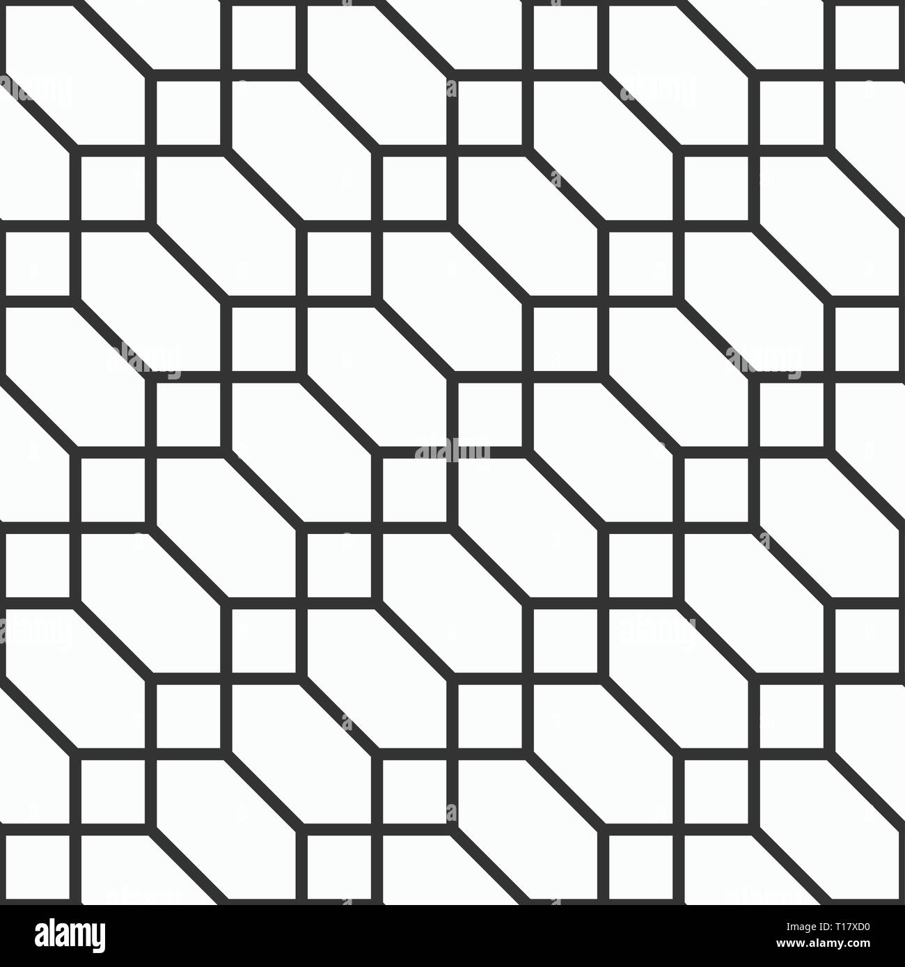 Abstract seamless pattern of hexagons and squares. Diagonal arrangement. Geometric lattice. Tiles motif. Linear style. Simple graphic print. Vector. - Stock Image