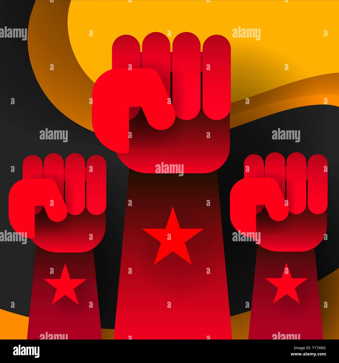 Revolution flat. Social network vector. White background. Revolution poster, fist hand. Flat cartoon style - Stock Vector