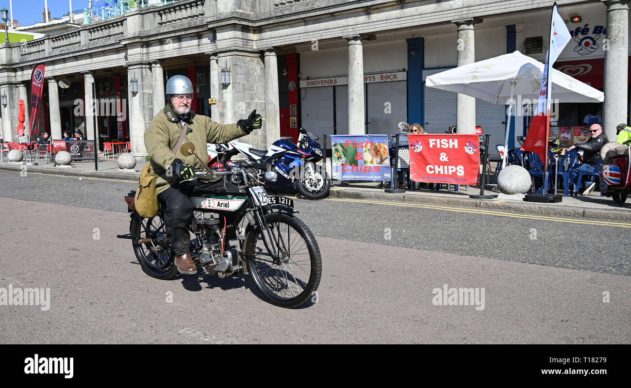 Brighton, UK. 24th March 2019. David Jones on his 1913 Ariel arrives in Brighton in the 80th Anniversary Pioneer Run for pre 2015 veteran motorcycles . The run organised by the Sunbeam Motor Cycle Club begins on the Epsom Downs in Surrey and finishes on Madeira Drive on Brighton seafront Credit: Simon Dack/Alamy Live News Stock Photo