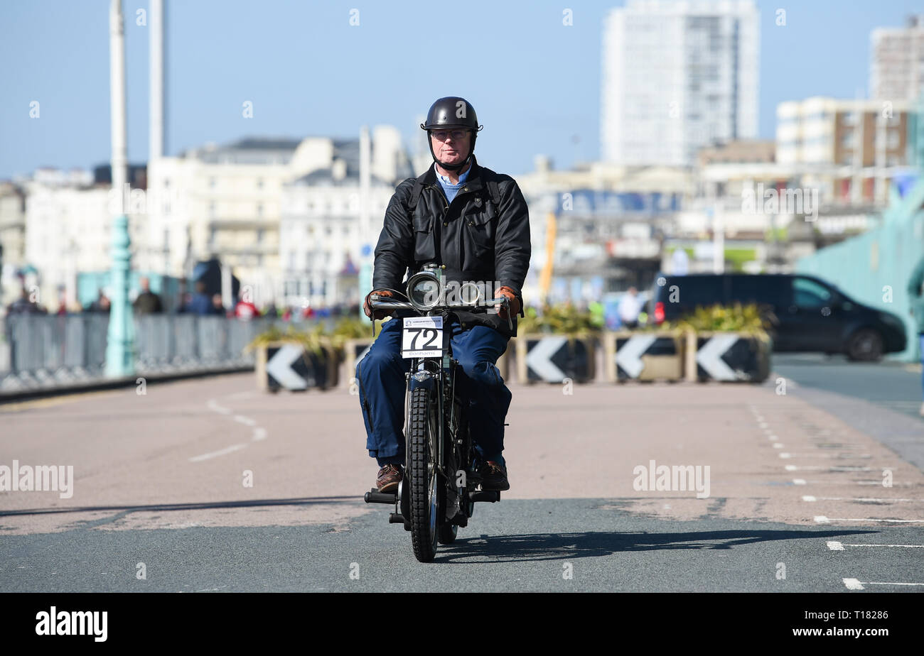Brighton, UK. 24th March 2019. Clive Boothman on his 1910 Rex finishes the 80th Anniversary Pioneer Run for pre 2015 veteran motorcycles in Brighton. The run organised by the Sunbeam Motor Cycle Club begins on the Epsom Downs in Surrey and finishes on Madeira Drive on Brighton seafront. Credit: Simon Dack/Alamy Live News Stock Photo