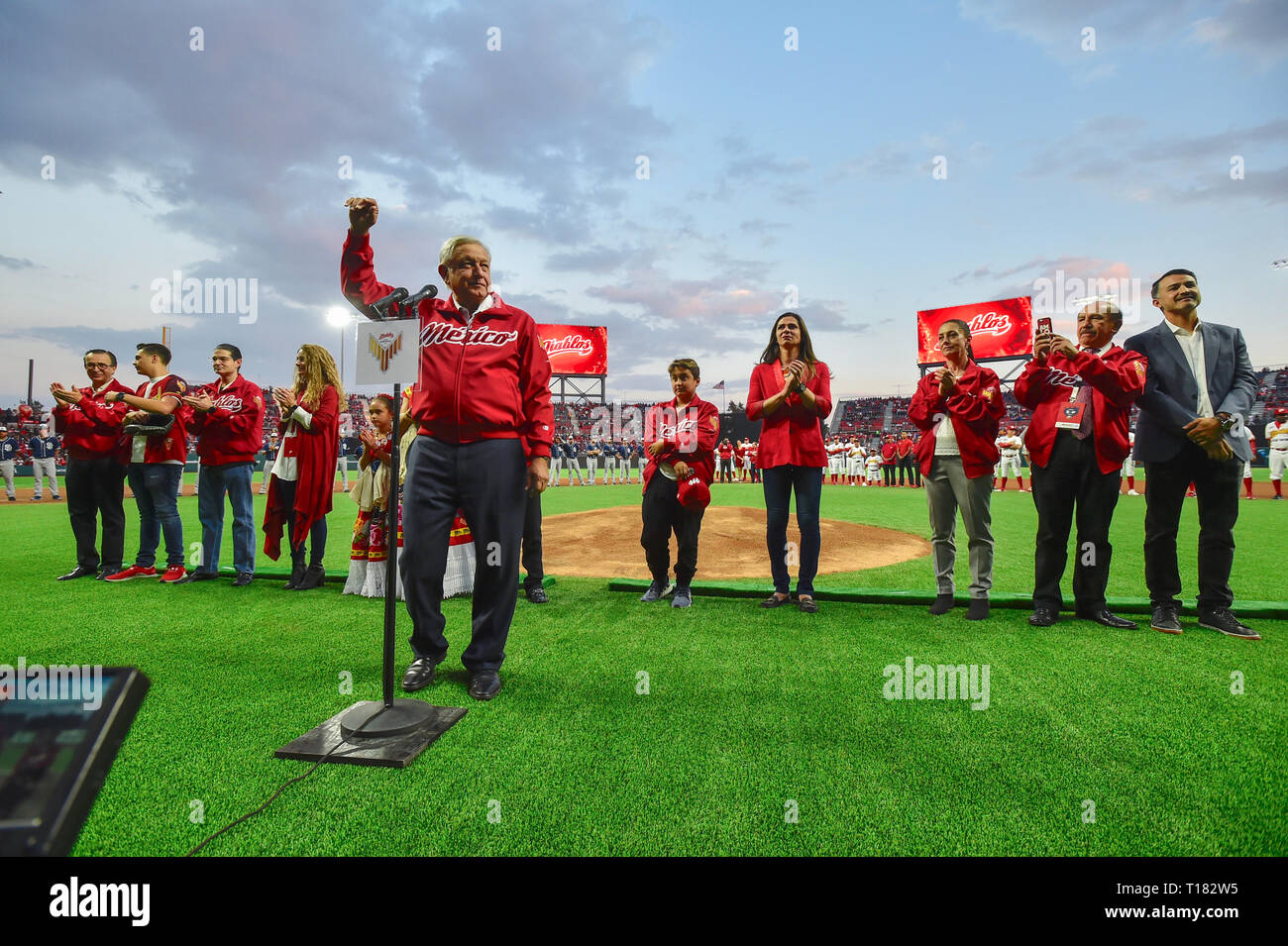 Mexico City, Mexico. 23rd Mar, 2019. Mexican President Andres Manuel Lopez Obrador during the opening ceremony at the Alfredo Harp Helu Baseball Stadium, home of the Mexico City Red Devils March 23, 2019 in Mexico City, Mexico. Obrador who has enjoyed soaring approval ratings was booed and jeered by the hostile crowd in a rare display of public animosity for the popular president. Credit: Planetpix/Alamy Live News - Stock Image