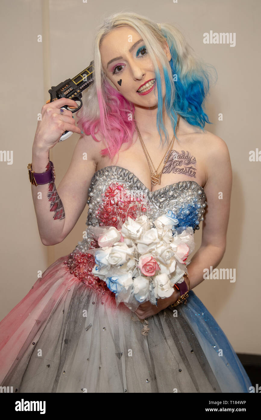 Birmingham, UK. 24th March 2019. Cosplayers seen in character on the 2nd day of the MCM Comic Con Birmingham at the NEC  , Credit: Jason Richardson/Alamy Live News - Stock Image