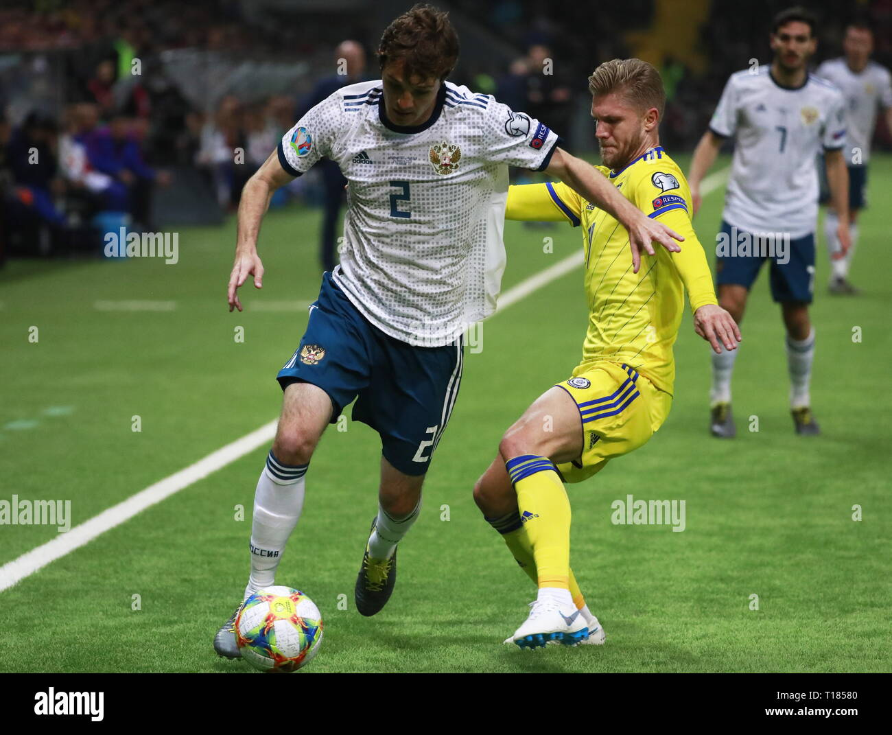 708aebcf619 NUR-SULTAN, KAZAKHSTAN - MARCH 24, 2019: Russia's Mario Fernandes (L) in  their UEFA Euro 2020 Group I Round 2 qualifying football match against  Kazakhstan ...