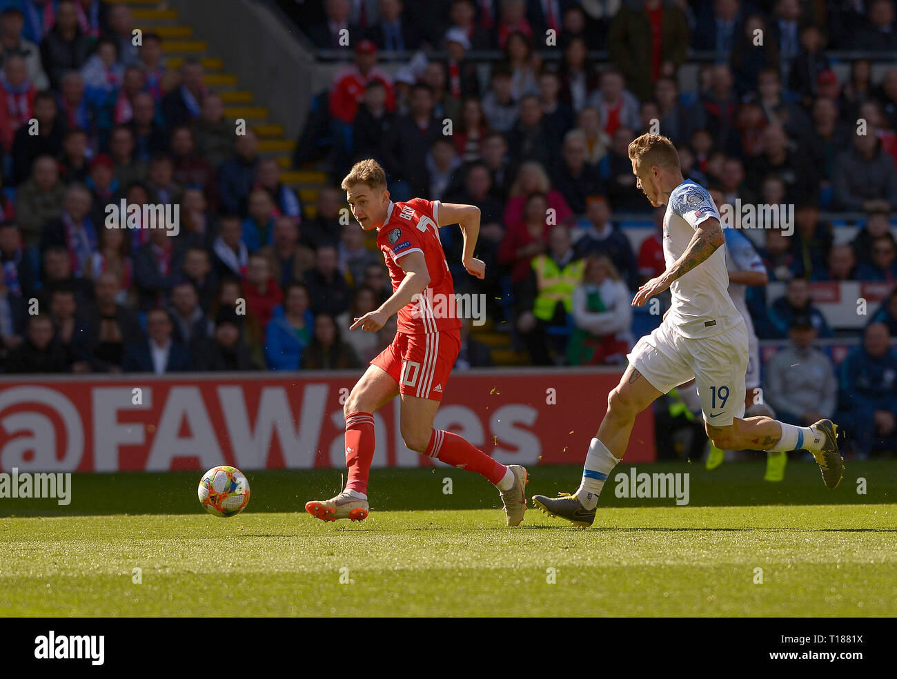 Cardiff, Wales, UK. 24th Mar 2019. Football, UEFA European Qualifiers Group E, Wales v Slovakia, 24/03/19, Cardiff City Stadium, K.O 2PM  Wales' David Brooks shoots and scores for his team  Andrew Dowling Credit: Andrew Dowling/Influential Photography/Alamy Live News Stock Photo