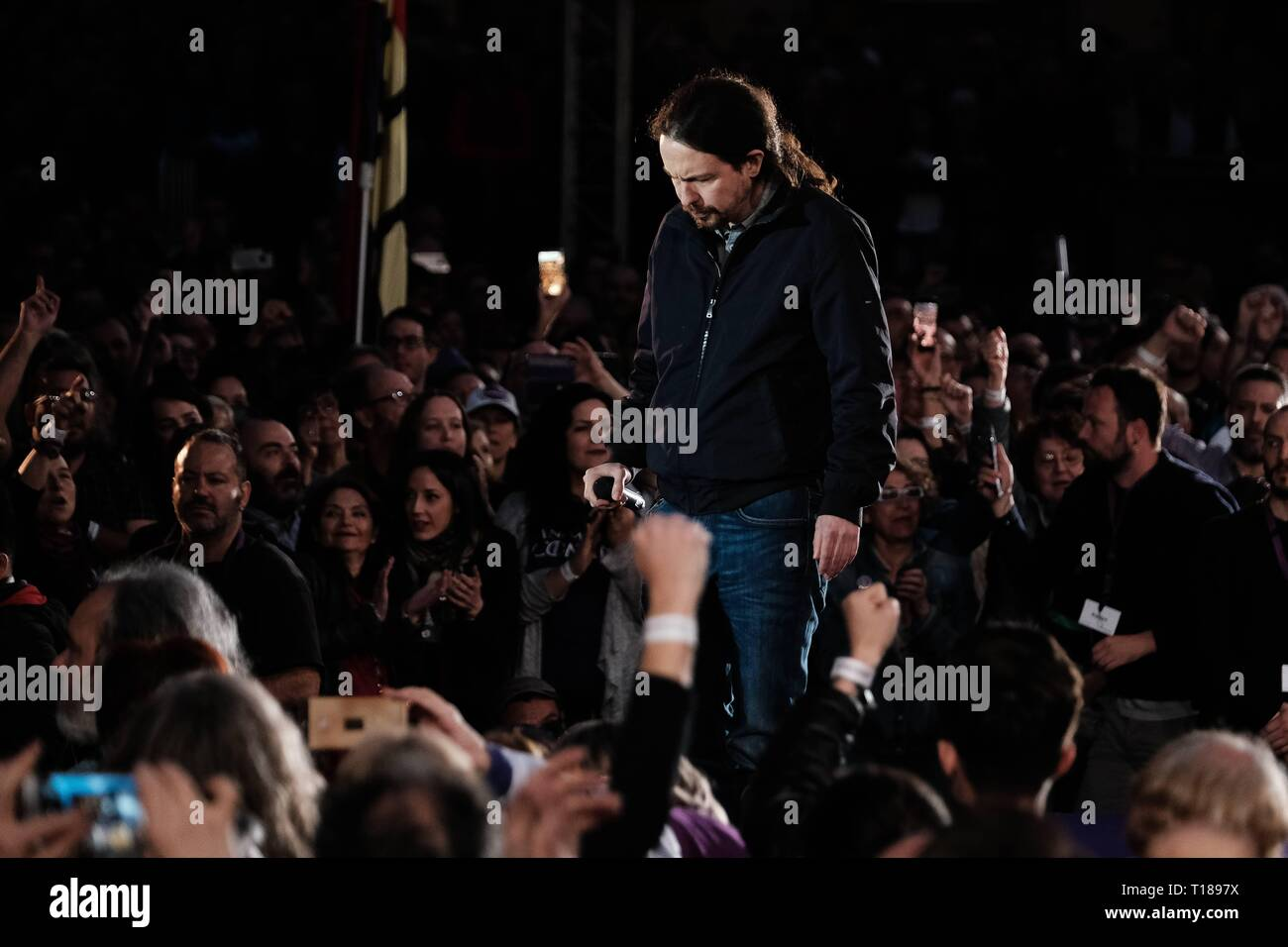 Pablo Iglesias reappears after his paternity leave in a first pre-campaign of Podemos  Cordon Press - Stock Image