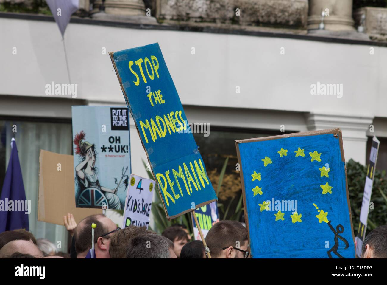 Pro Remain and other placards at the anti-Brexit Revoke Article 50 London march Stock Photo