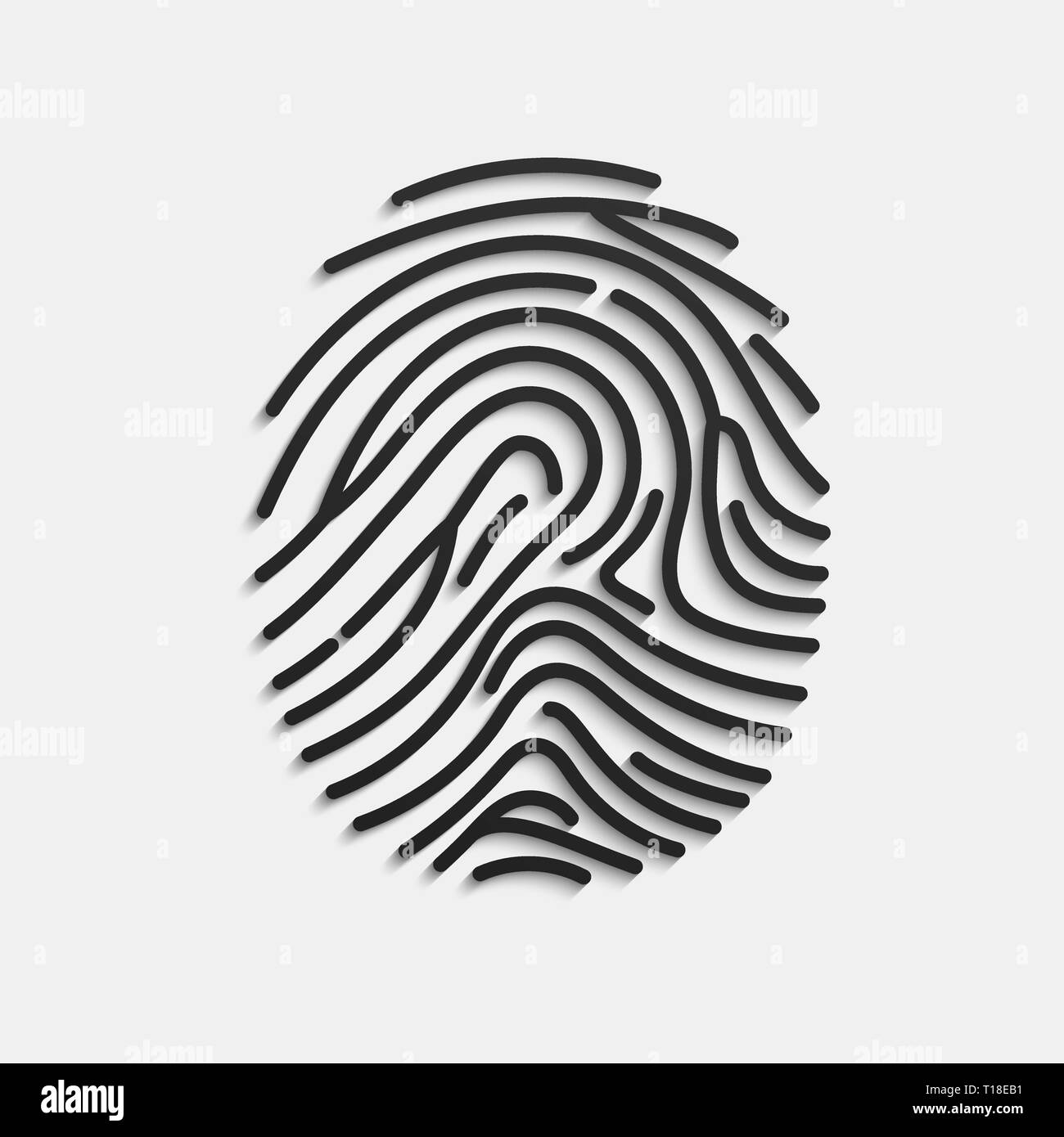 Fingerprint. Scan fingerprint isolated on white background. Volume press of finger with shadow. Vector illustration - Stock Image