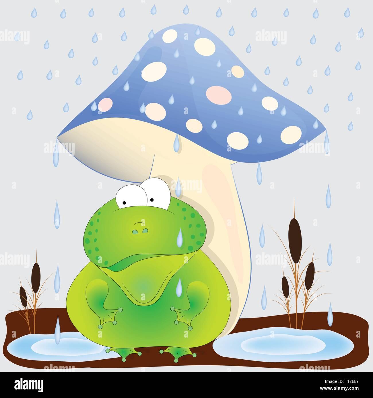 toad under the mushroom cartoon vector illustration - Stock Vector