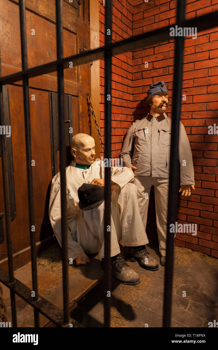 Army deserters wax figures in prison cell, one is the famous Good Soldier Svejk, exhibition in a fort at Kasciuszko Mound in Krakow, Poland Stock Photo