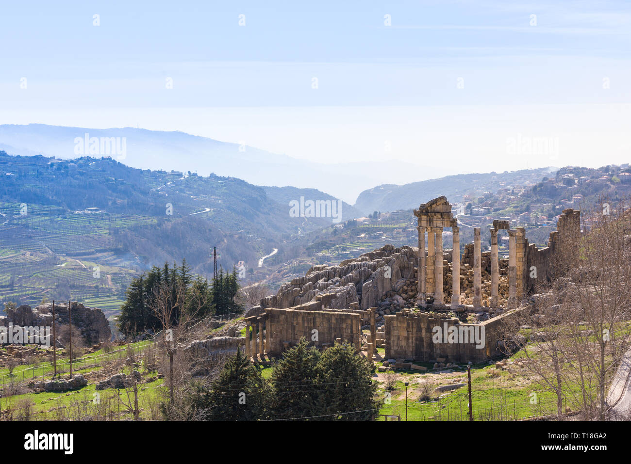 A Roman temple dedicated to Zeus Baal and a byzantine basilica sit at the beginning of the Nahr al Kalb valley on the Mount Lebanon. - Stock Image