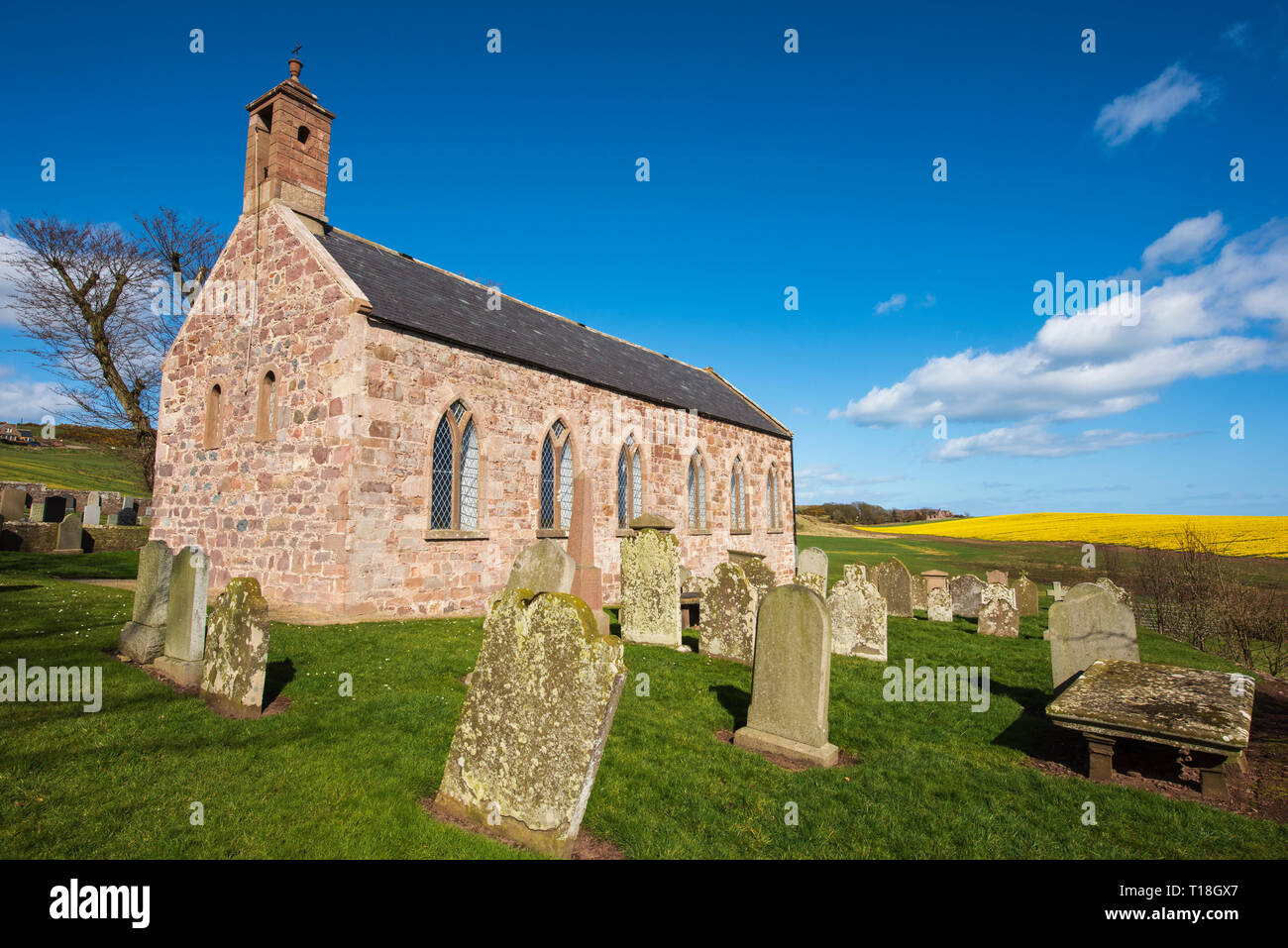 Kinneff Old Church is where the Scottish Crown Jewels were hidden after they were rescued from Dunnottar Castle during Cromwell's siege in 1652. - Stock Image