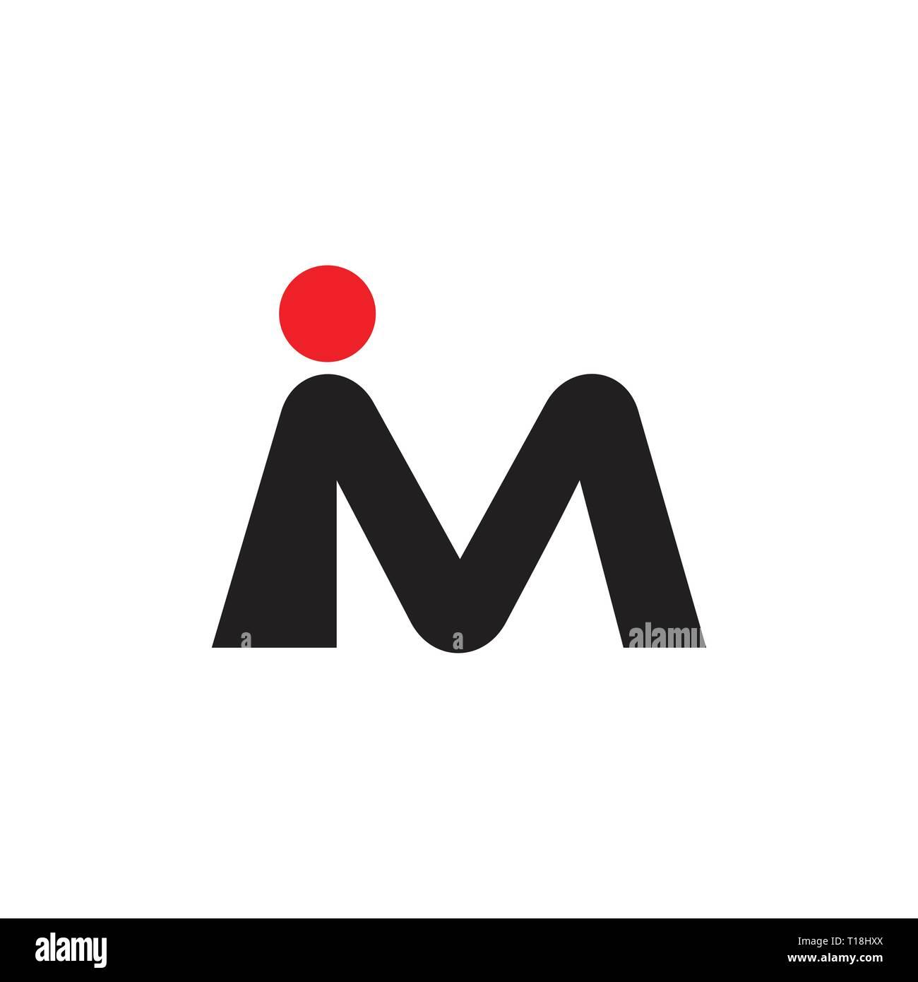 letter im simple dot logo vector - Stock Image