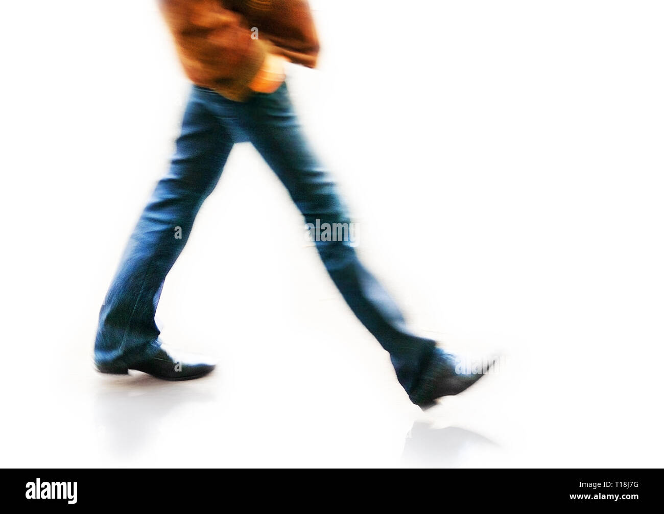 man at blurry walking; isolated - Stock Image