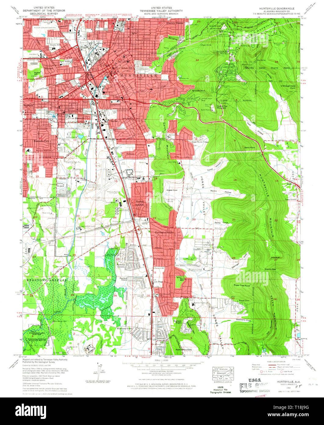 USGS TOPO Map Alabama AL Huntsville 304225 1964 24000 Stock ...