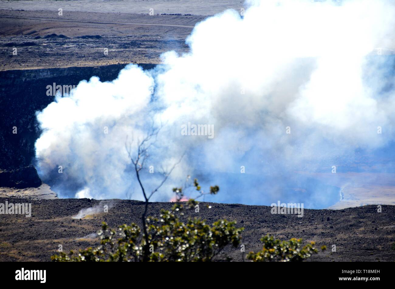 Kilauea Crater in Hawaii preparing its outburst - Stock Image