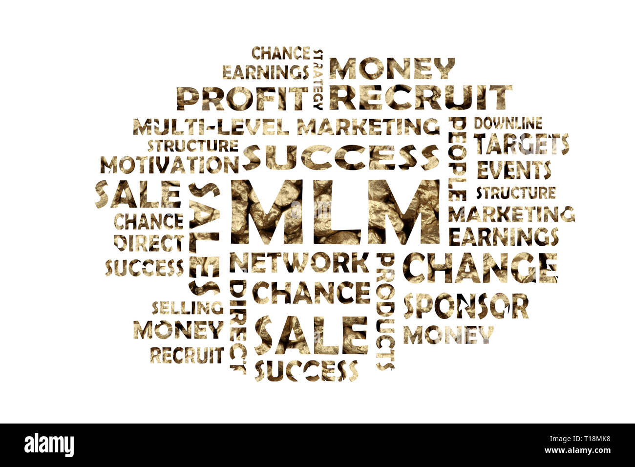 Word cloud with golden keywords out of the area mlm, network marketing and direct sales - Stock Image
