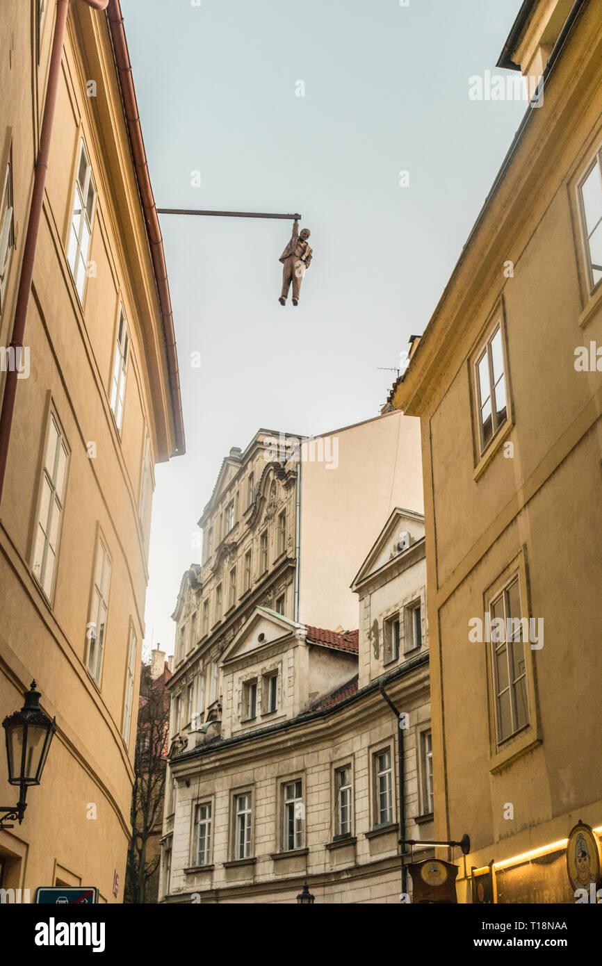 Prague, Czech Republic - September 20, 2019: Sculpture of David Black, hanging Seven Foot Sigmund Freud - Stock Image