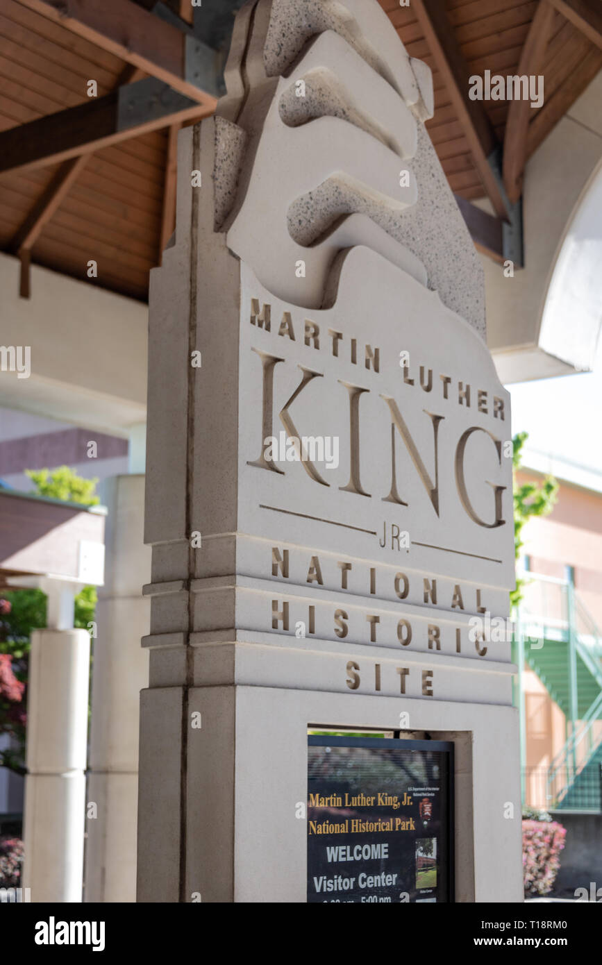 Visitor Center sign at the Martin Luther King, Jr. National Historic Site in Atlanta, Georgia. (USA) - Stock Image