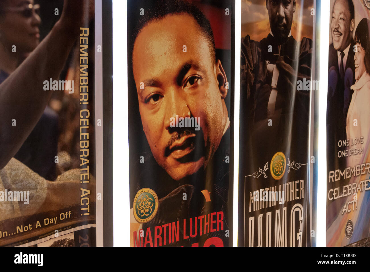 Martin Luther King banners hanging in Freedom Hall at the Martin Luther King, Jr. National Historic Site in Atlanta, Georgia. (USA) - Stock Image