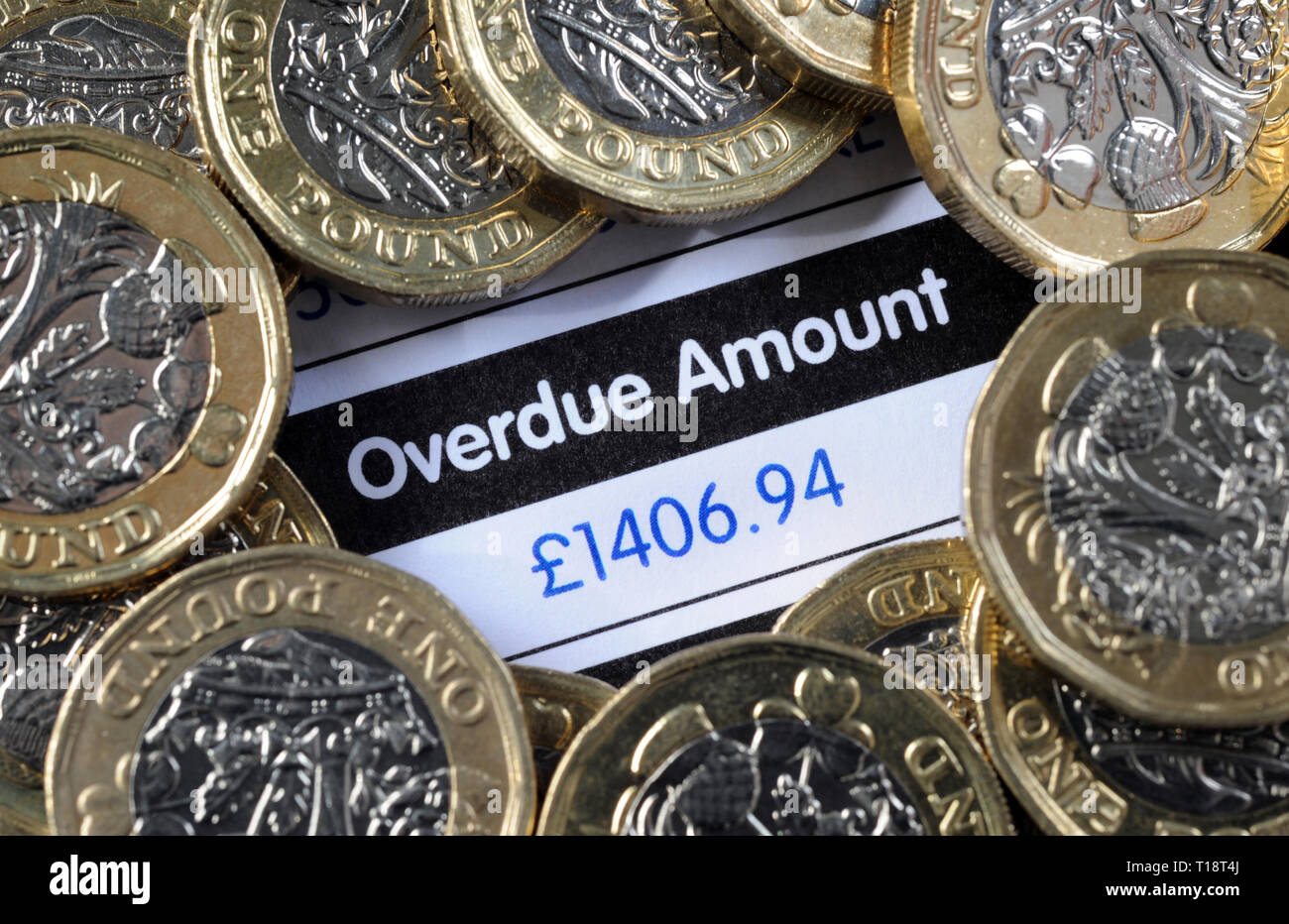 OVERDUE AMOUNT DEMAND LETTER WITH ONE POUND COINS RE LOANS DEBT BANK PAYMENTS BUDGETS BILL HOME OWNERS BILLS ETC UK - Stock Image