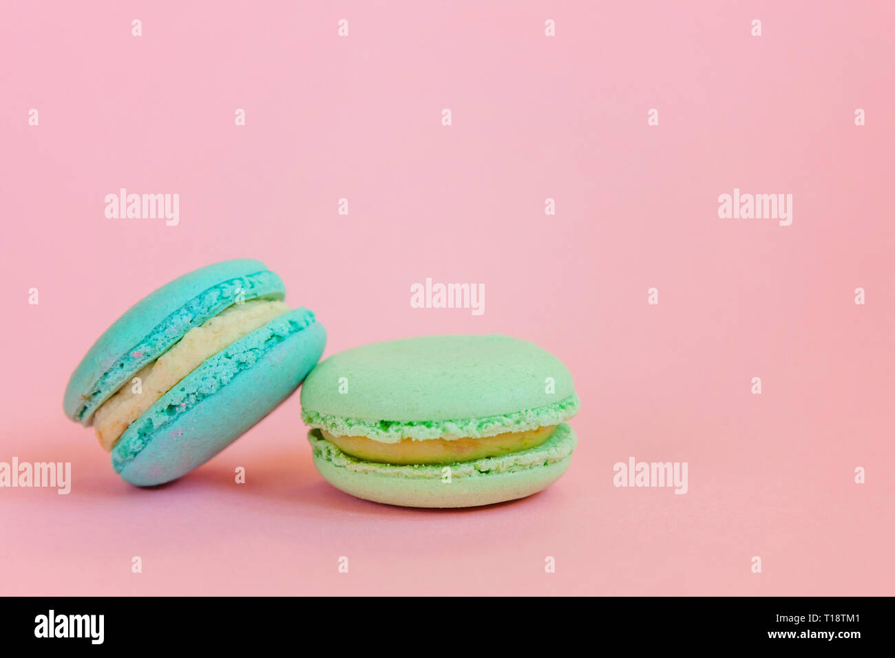 Sweet Almond Colorful Unicorn Blue Green Macaron Or Macaroon Dessert Cake Isolated On Trendy Pink Pastel Background French Sweet Cookie Minimal Food Stock Photo Alamy