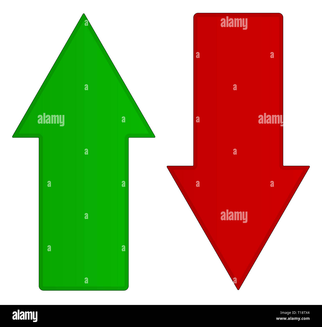Simple up and down arrows  Upward, downward arrows in green