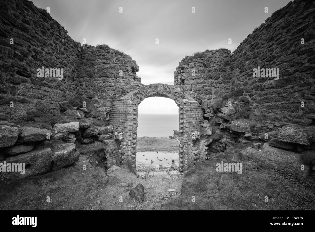 Botallack is a village in west Cornwall, United Kingdom. The village is in a former tin mining area situated between the town of St Just in Penwith an - Stock Image