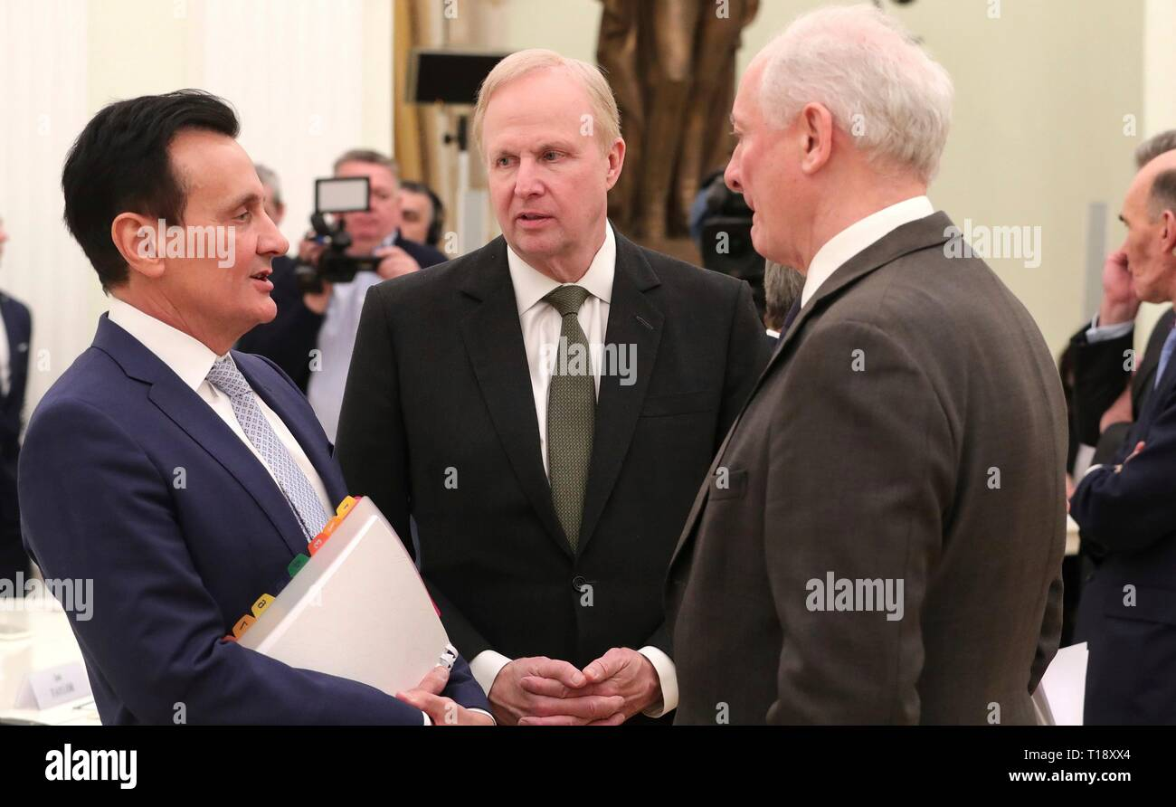 AstraZeneca CEO Pascal Soriot, left, BP Group Chief Executive Robert Dudley and Chairman of the Russo-British Chamber of Commerce Roger Mannings, right, before a meeting with representatives of the UK business community hosted by President Vladimir Putin at the Kremlin March 20, 2019 in Moscow, Russia. - Stock Image