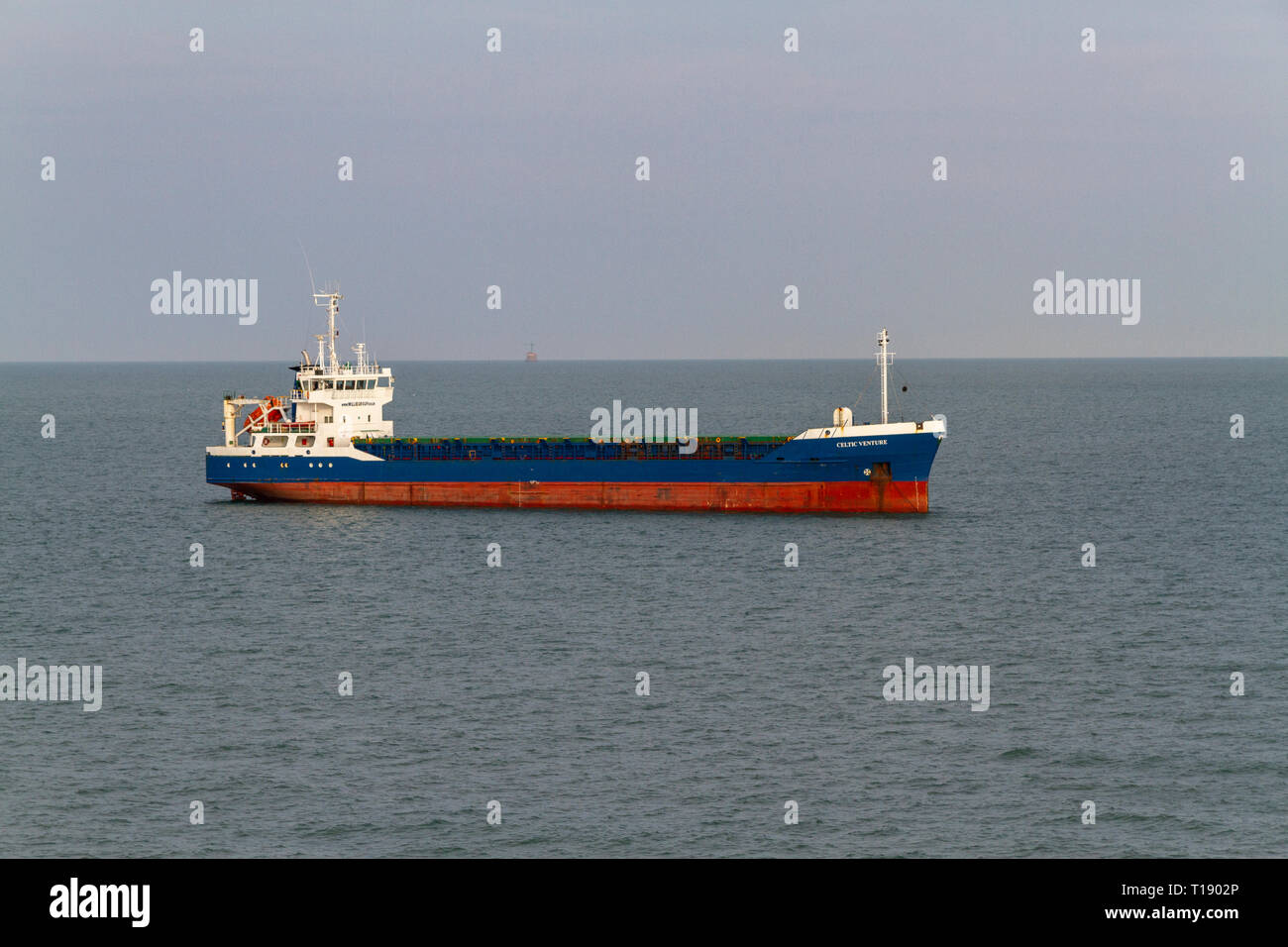 The Celtic Venture general cargo vessel in the English Channel near Cherbourg, France. - Stock Image