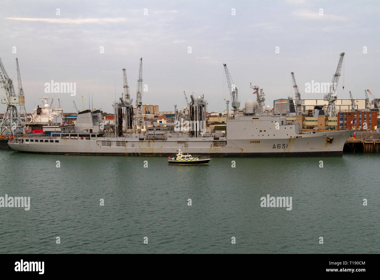 The Somme (A631) a French Durance class command and replenishment ship moored in the Royal Navy Dockyard, Portsmouth, UK. - Stock Image