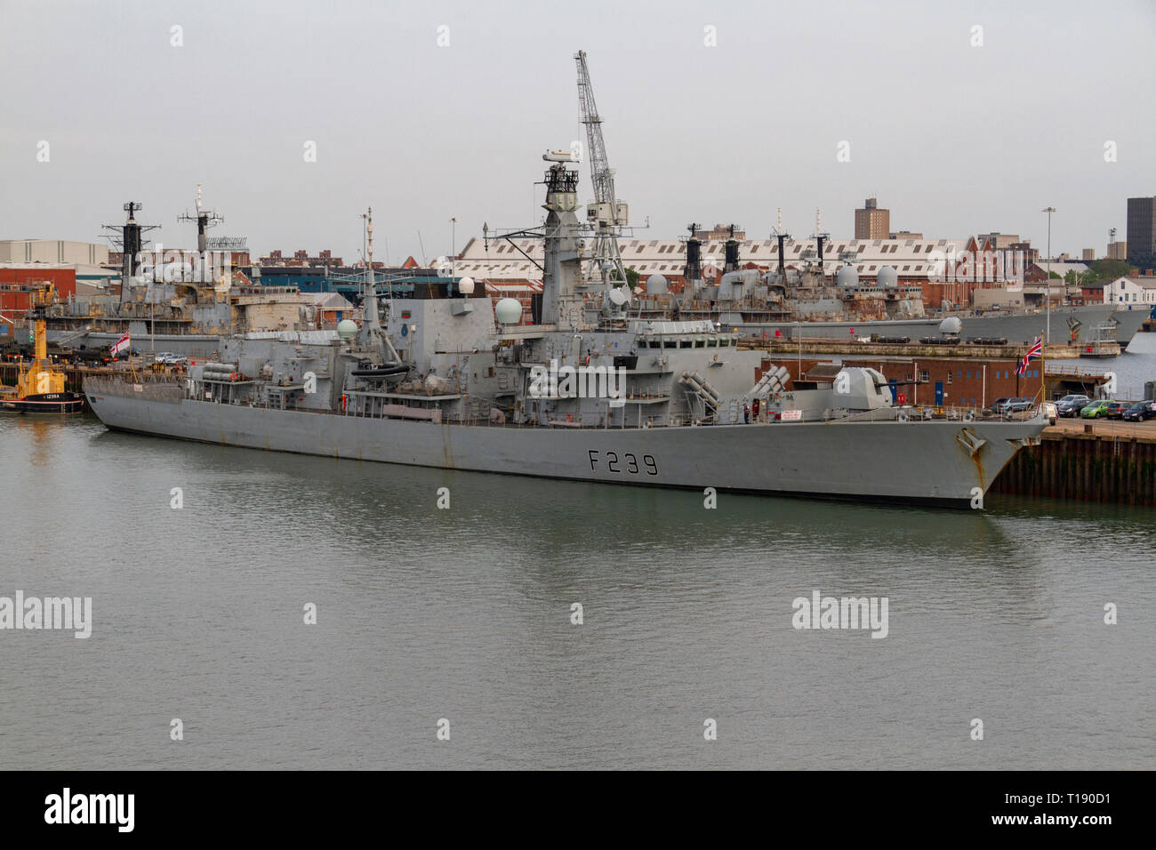 The HMS Richmond is a Type 23 frigate of the Royal Navy moored in the Royal Navy Dockyard, Portsmouth, UK. - Stock Image