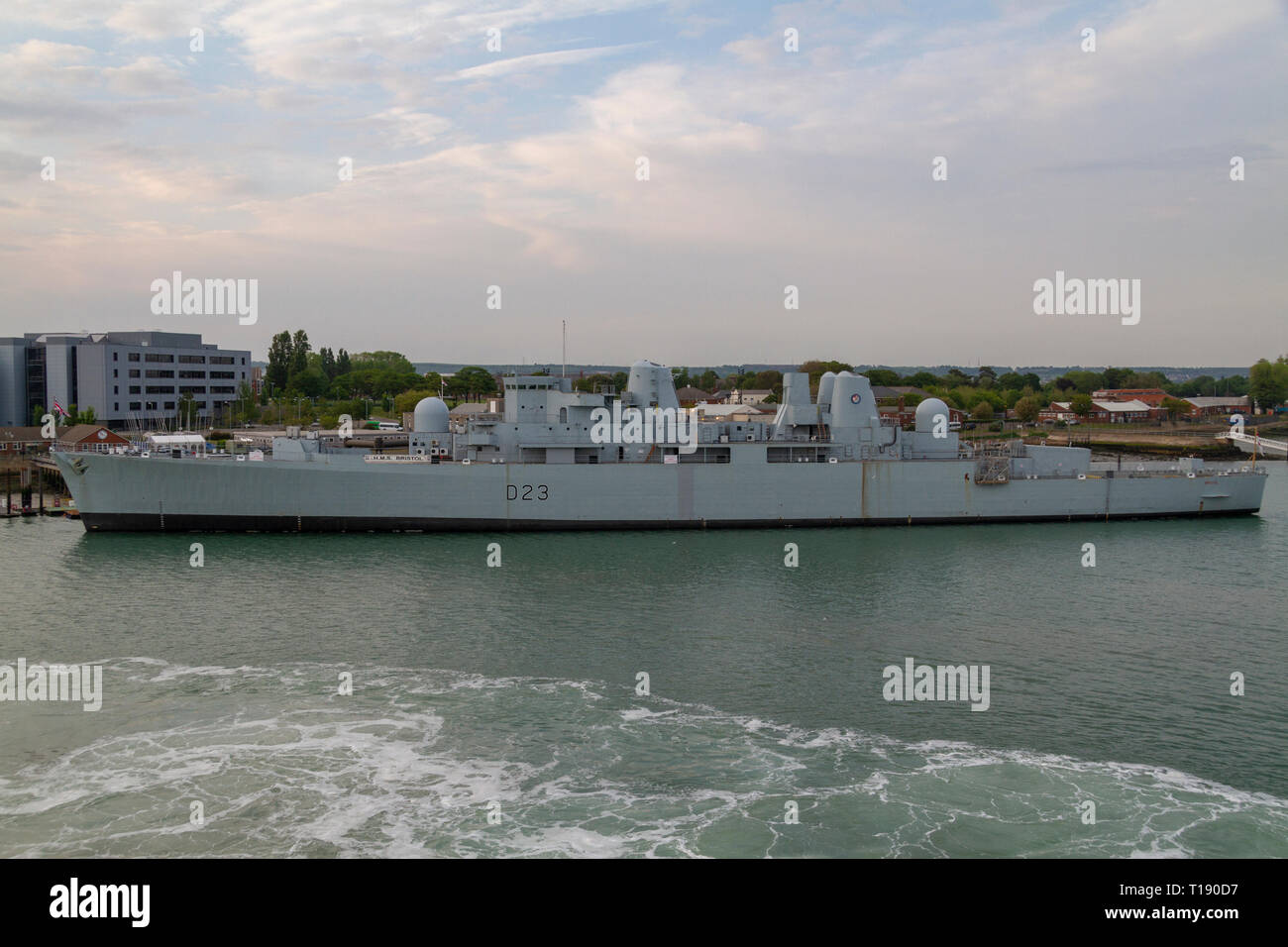 The HMS Bristol (D23) is a Type 82 destroyer, moored in the Royal Navy Dockyard, Portsmouth, UK. - Stock Image