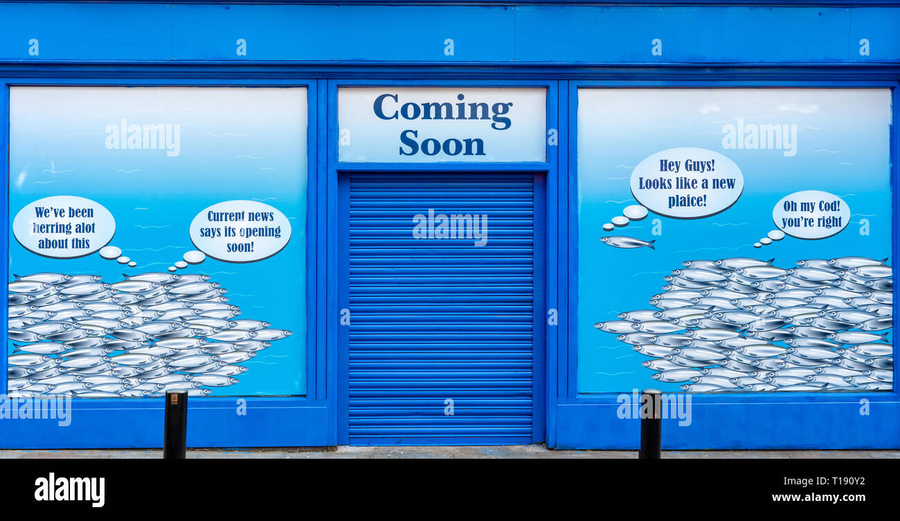 Funny Advertisement For A New Fishmongers Fish Restaurant Depicting Fish Talking About The Coming Soon Store Opening In Killarney County Kerry Ireland Stock Photo Alamy