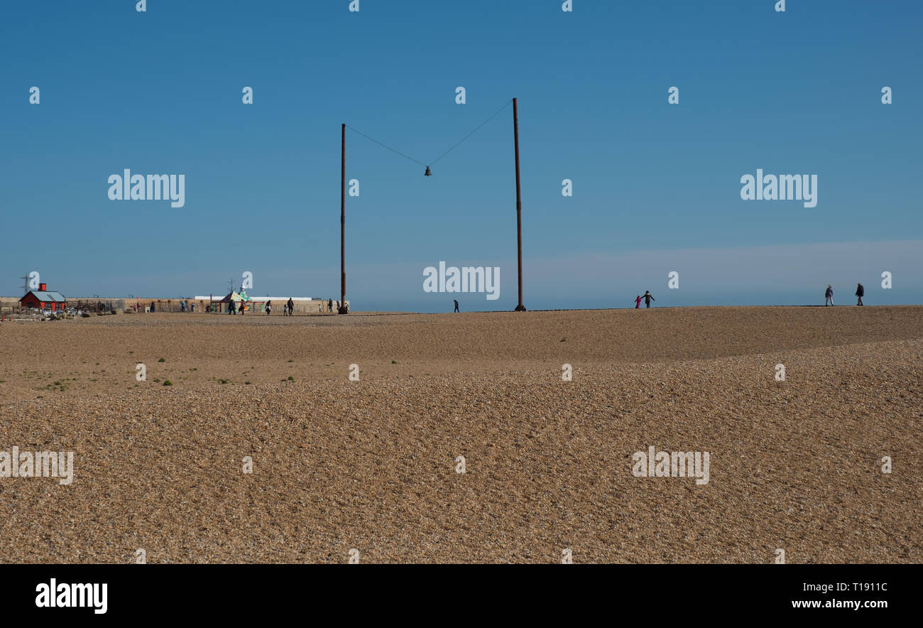 A K Dolven 'out of tune' on the beach off Marine Parade, Folkestone, Kent - Stock Image