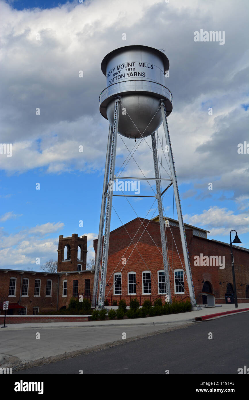 Rocky Mount Mills began as a cotton mill in 1818 and operated till 1996. Today it is converted to residential homes and a micro-brewing incubator. - Stock Image