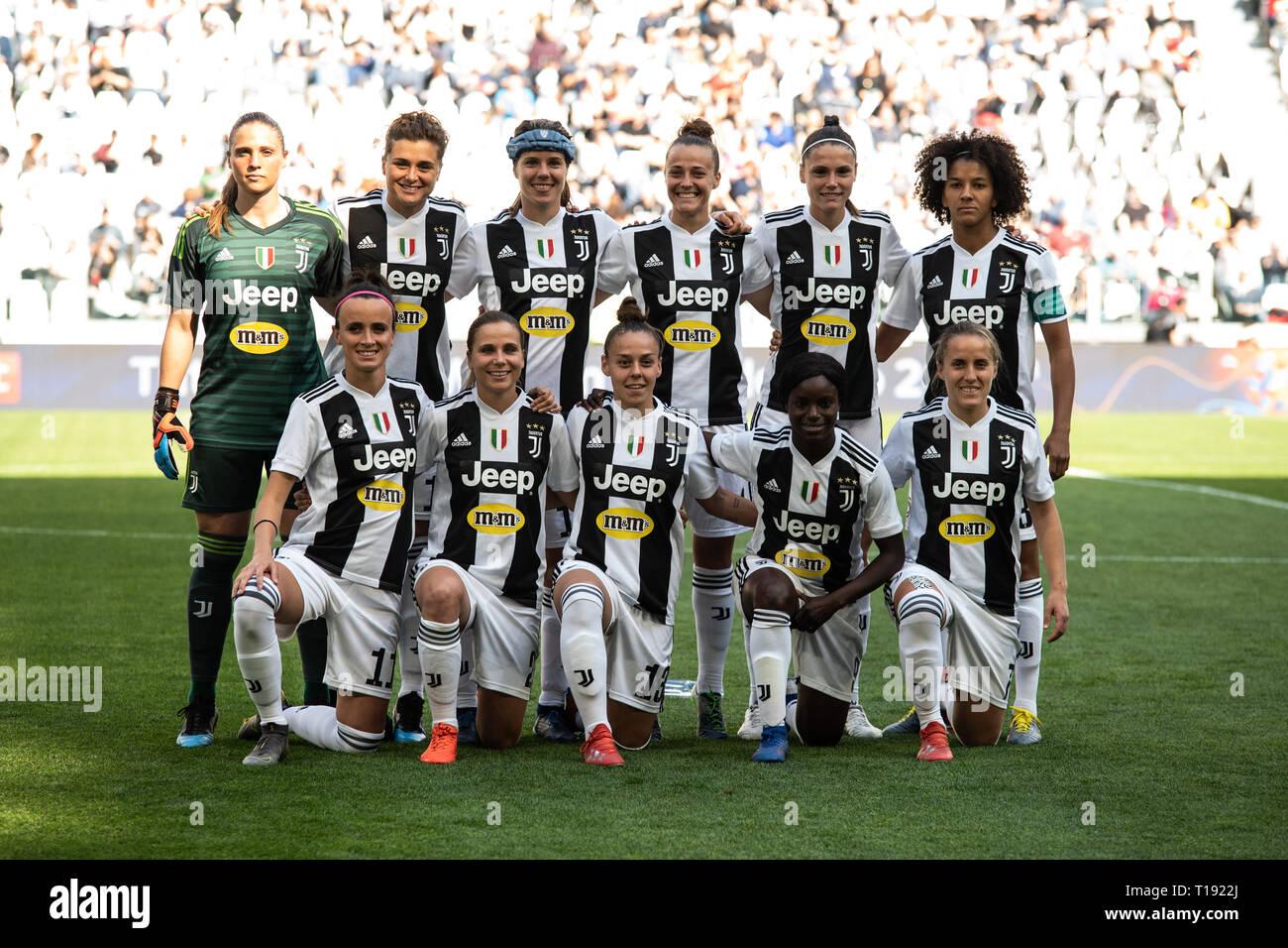 Turin Italy 24th Mar 2019 Juventus Women Team Poses Before