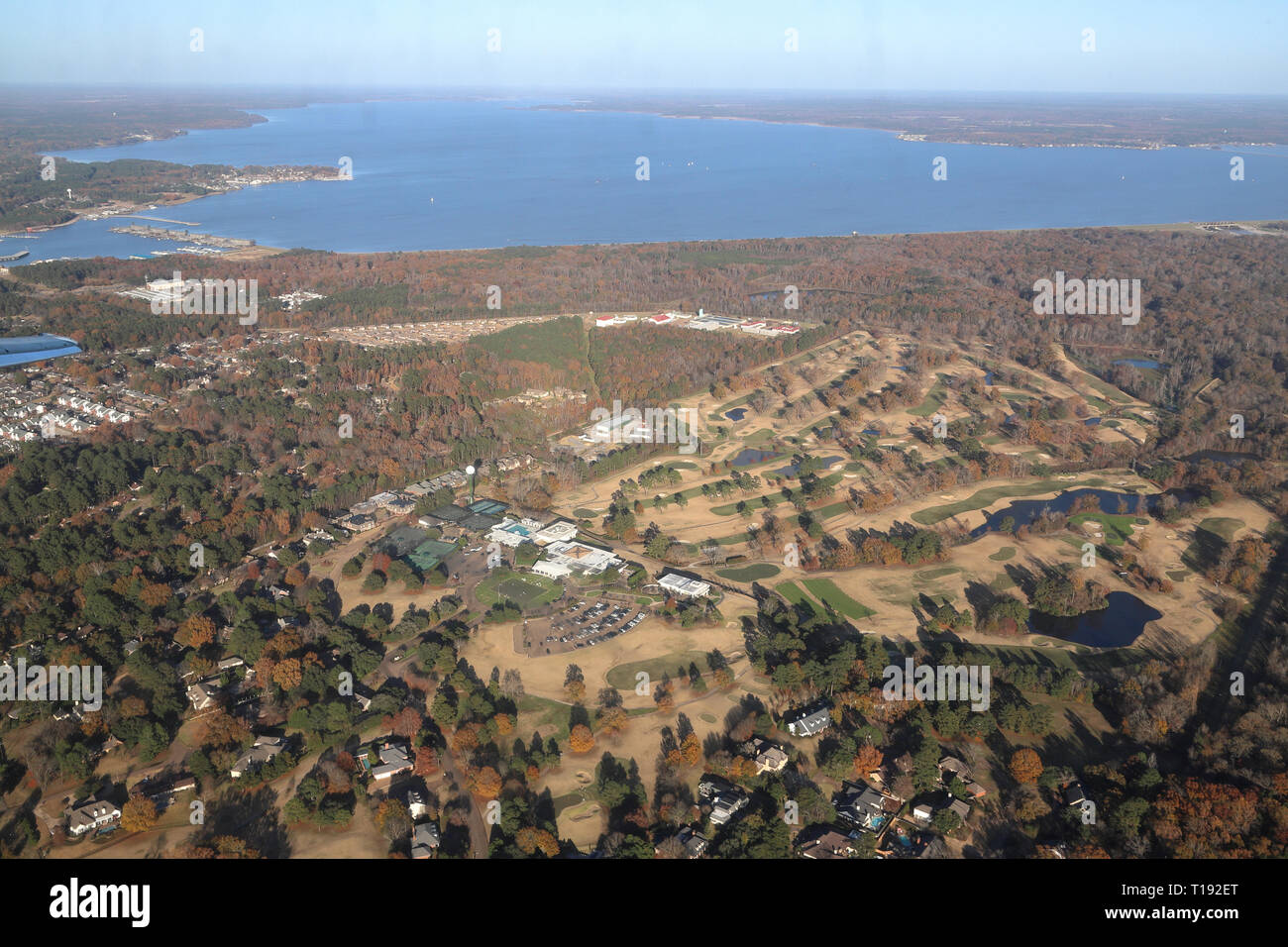 Jackson, MS - USA / December 2, 2018:  Pearl River and Rosee Barnett Reservoir with autumn trees in Mississippi - Stock Image