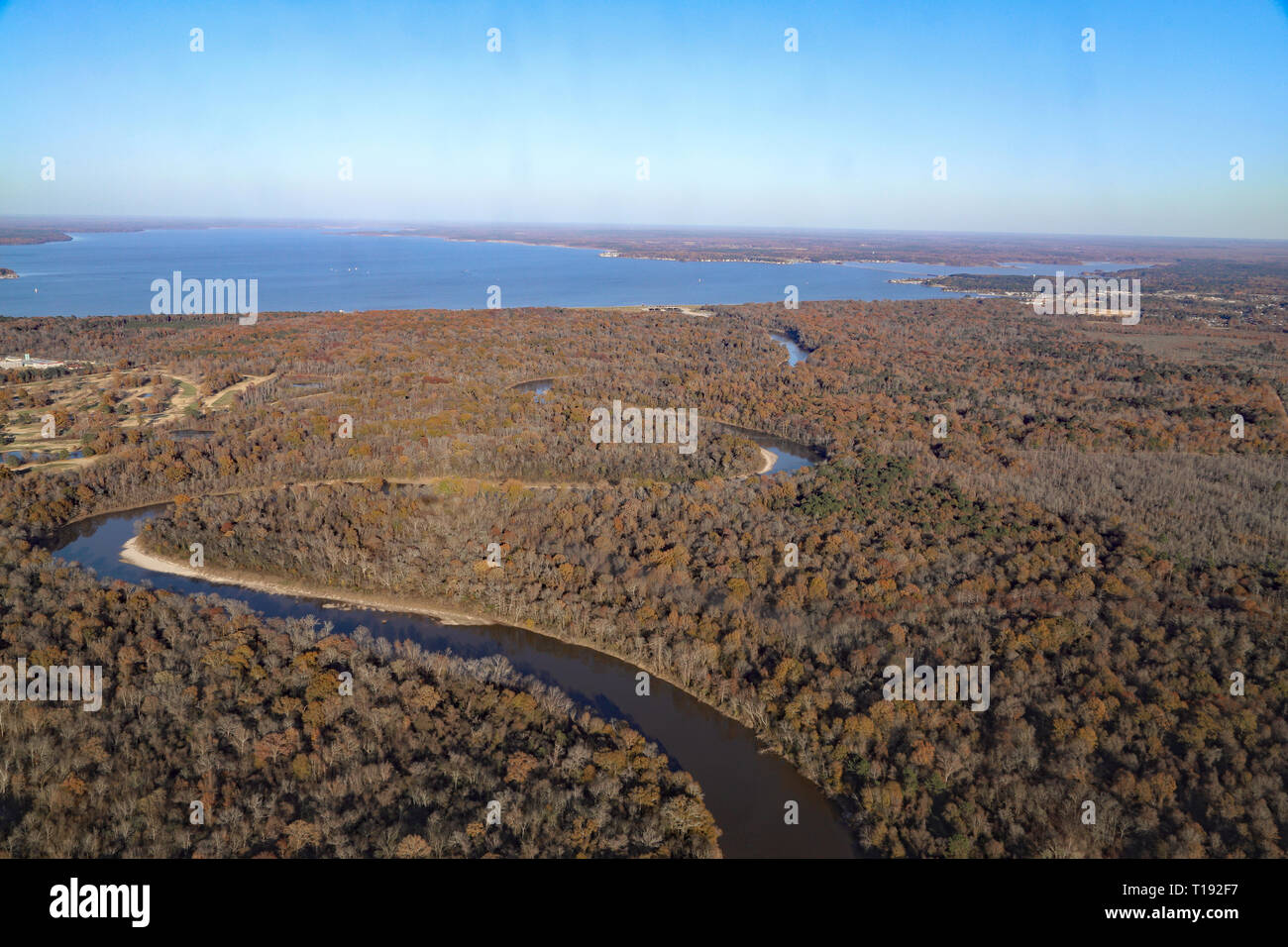 Jackson, MS - USA / December 2, 2018:  Pearl River and Ross Barnett Reservoir with autumn trees in Mississippi - Stock Image