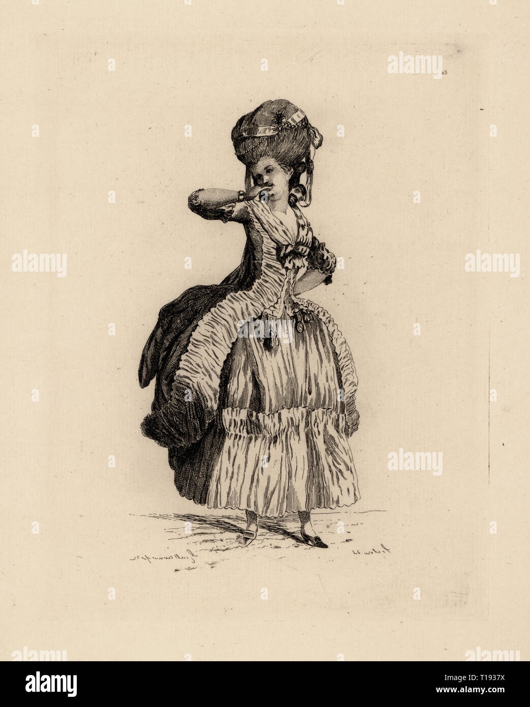 Fashionable woman in pouf hairstyle, drape skirt over petticoat, era of Marie Antoinette. Copperplate etching by Auguste Etienne Guillaumot from Costumes et coiffures du XVIIIe siecle, Costumes and hairstyles of the 18th century, Cagnon, Paris, 1875. Original illustration by Pierre Thomas Le Clerc from the Gallerie des Modes et Costumes Francais, 1778-1787. - Stock Image