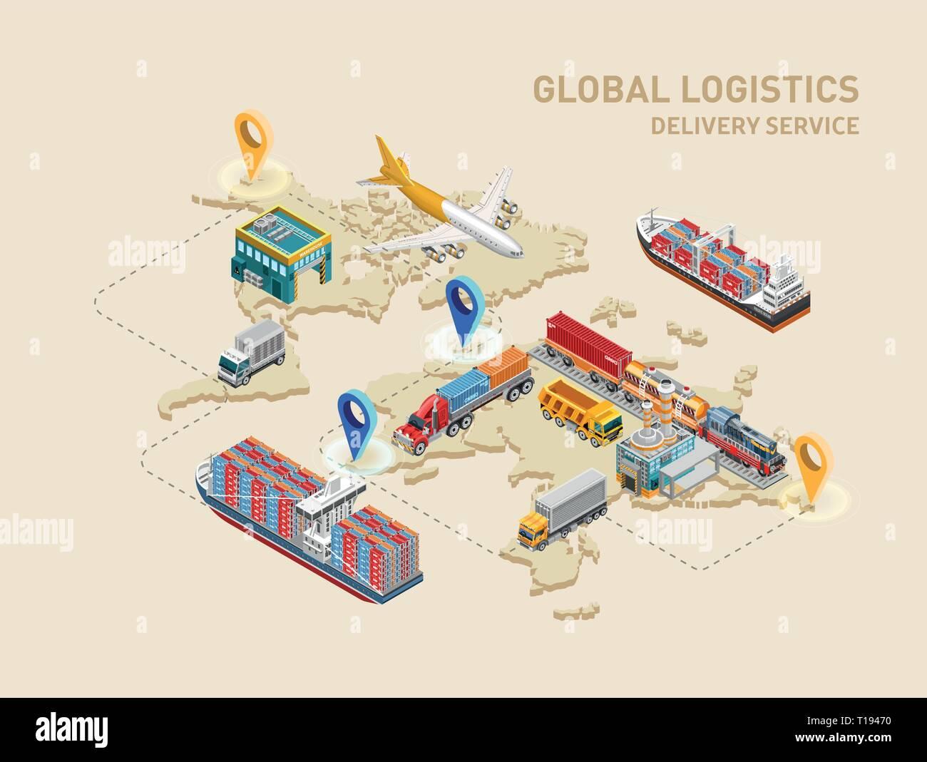Global logistics scheme with destination points - Stock Vector