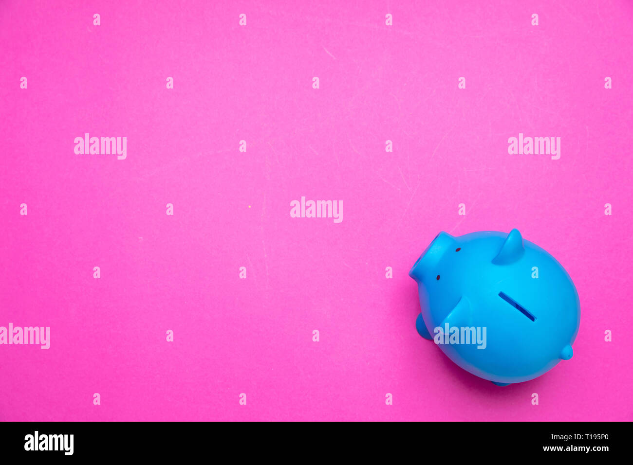 Savings concept. Piggy bank blue color against bright pink background, copy space, top view. Stock Photo