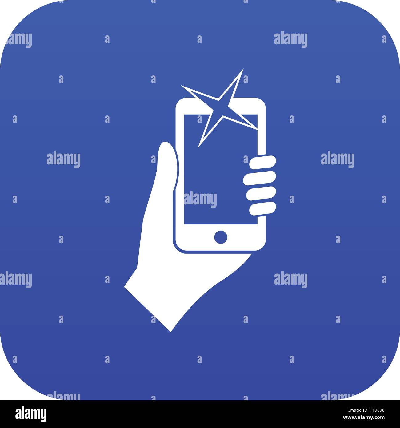 Hand photographed on mobile phone icon digital blue - Stock Vector