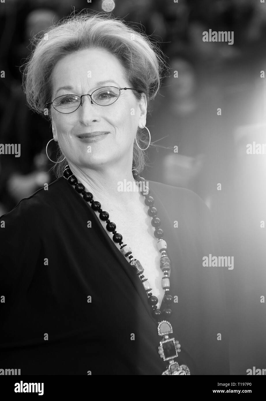 Apr 12, 2016 - London, England, UK - Florence Foster Jenkins UK Premiere, Odeon, Leicester Square - Red Carpet Arrivals Photo Shows: Meryl Streep - Stock Image