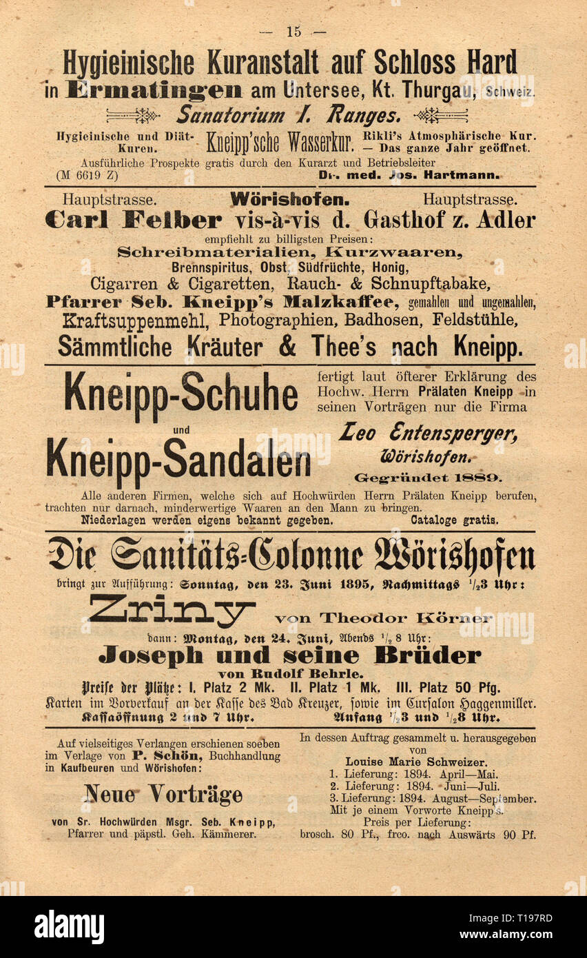 advertising, medicine, naturopathy, advertisements in the 'Central-Blatt fuer das Kneippsche Heilverfahren' (Central Organ for the Therapy according to Kneipp), editor: Alfred Baumgarten (1862 - 1924), IIIrd volume, front page, Kaufbeuren, 1896 / 1897, Additional-Rights-Clearance-Info-Not-Available - Stock Image