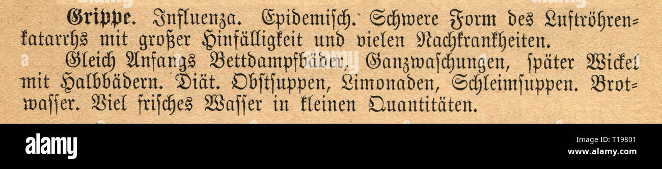 medicine, specialist book, naturopathy, 'Die neue Naturheilmethode' (New Naturopathic Treatment), by Max Walser, Ist part, second edition, paragraph on influenza, Posen, 1893, Additional-Rights-Clearance-Info-Not-Available - Stock Image