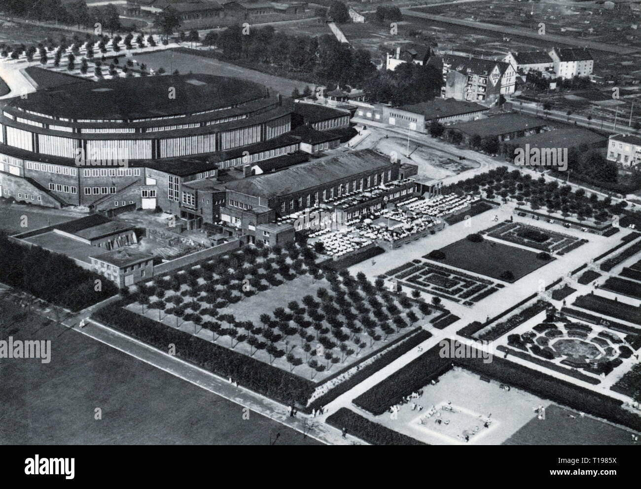 geography / travel historic, Germany, cities and communities, Dortmund, building, Westfalenhalle and Rose Terraces, aeroview, picture postcard, circa 1930, Additional-Rights-Clearance-Info-Not-Available - Stock Image